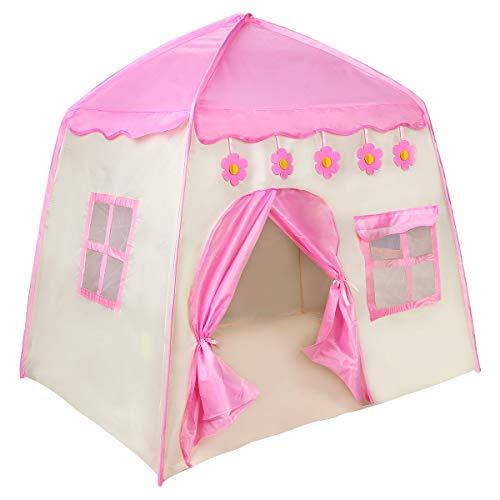 Zwini Kinderspielzelt Kinderzelt, Spielzelt Prinzessin für Mädchen, im Kinderzimmer, Indoor/innen/außen/draußen 130*130*100 cm