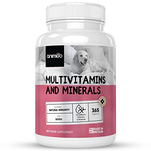 Animigo Multi Vitamine für Hunde - 23 Vitamine & Mineralstoffe - 365 Tabletten mit Vitamin B Komplex, Magnesium, Kalzium & Zink - Hunde Vitamine für Immunsystem & Beweglichkeit - Natürliche Zutaten
