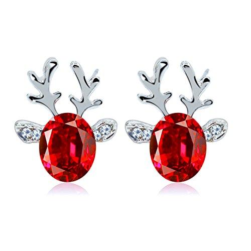 Oblique-Unique® Rentier Ohrringe Weihnachten Elchgeweih Perle - Model wählbar (Rot)