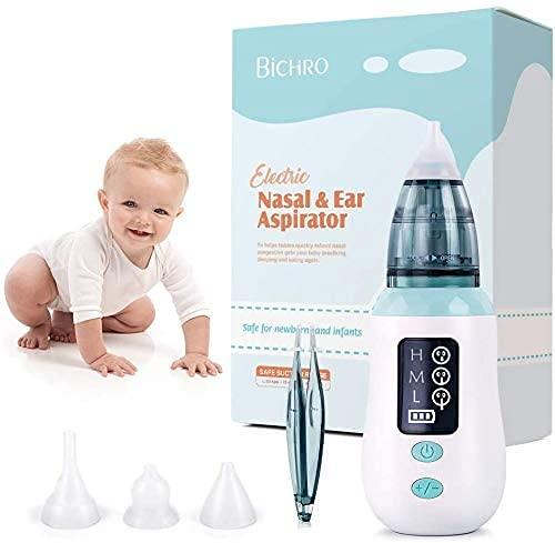 Nasensauger, Bichiro USB-Nasensauger mit 3 Saugstufen, Ohrenschmalz-Entferner mit 4 wiederverwendbaren Rotz-Saugdüsen für Kleinkinder und Kleinkinder