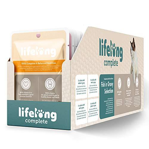 Amazon-Marke: Lifelong Alleinfuttermittel für ausgewachsene Katzen- Fischauswahl in Sauce, 2,4 kg (24 Beutel x 100g)