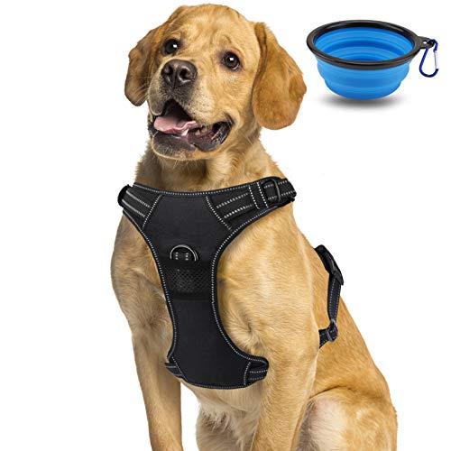morpilot Hundegeschirr No-Pull atmungsaktiv Brustgeschirr für Hunde, 3M Reflektierender Leichter Nylon-Hundegeschirr mit gepolsterter Weste, Mittel/Groß/XL Hundegeschirr + Hundenapf