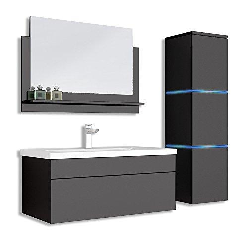 Home Deluxe - Badmöbel-Set - Wangerooge Big schwarz - Large - inkl. Waschbecken und komplettem Zubehör - Breite Waschbecken: ca. 80 cm | Badezimmermöbel Waschtisch Badmöbelset
