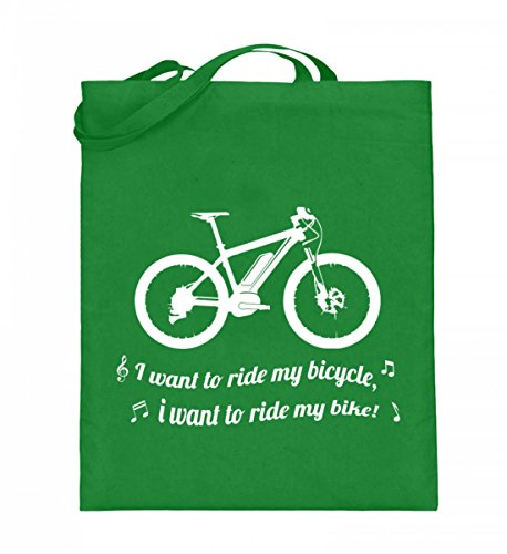 Nukular Hochwertiger Jutebeutel (mit langen Henkeln) - I want to ride my bicycle Mountainbike Pedelec