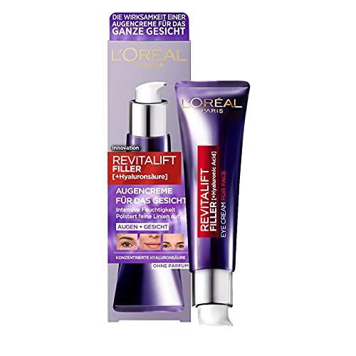 L'Oréal Paris Hyaluron Augenpflege, Anti-Aging Augencreme für das Gesicht, Anti-Falten und Volumen, Mit Hyaluronsäure, Vitamin CG & E, Revitalift Filler, 30 ml