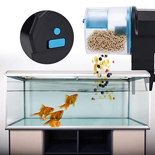 Cuque Mai Geschenke Automatischer blau-gelber ABS-Futterautomat Automatischer Futterautomat, automatischer Aquarium-Futterautomat, hohe Kapazität für Aquarienfische(Blue)