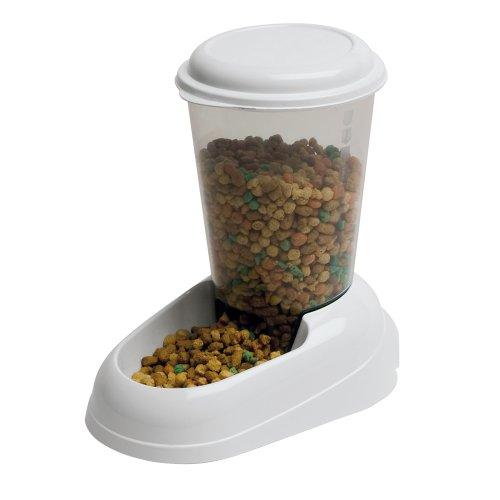 Ferplast Trockenfutter-Spender für Hunde und Katzen 3 Liter Zenith Praktischer Spender Futter-Spender für Tiere, durchsichtiger Behälter mit Deckel, rutschfester Boden, 20,2 x 29,2 x 28,8 cm, weiß