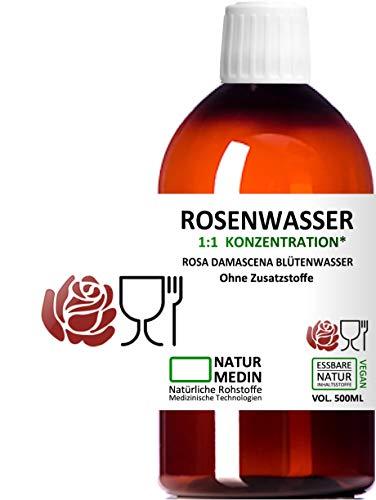 ROSENWASSER 500-ml, LEBENSMITTEL-QUALITÄT, 100% naturrein, 1:1 Konzentration, Rosa damascena Blüttenwasser, essbar, ohne Zusatzstoffe, PET Braunflasche, nachhaltig