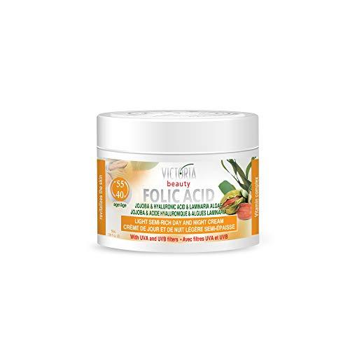 Victoria Beauty - Hyaluron Creme mit Folsäure gegen Falten und Augenringe, straffende Gesichtscreme mit Jojobaöl und Hyaluronsäure für Frauen und Männer ab 40 (1 x 50 ml)