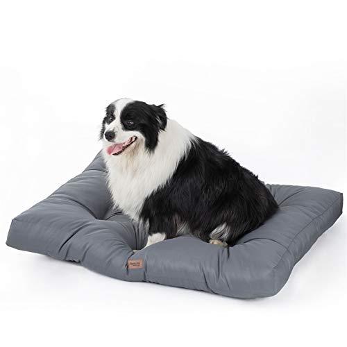 Bedsure Hundekissen Grosse Hunde waschebar - Hundebett Wasserdicht XXL für große, mittelgroße Hunde gepolstert Hundematte grau in 10cm Höhe, 110x90cm