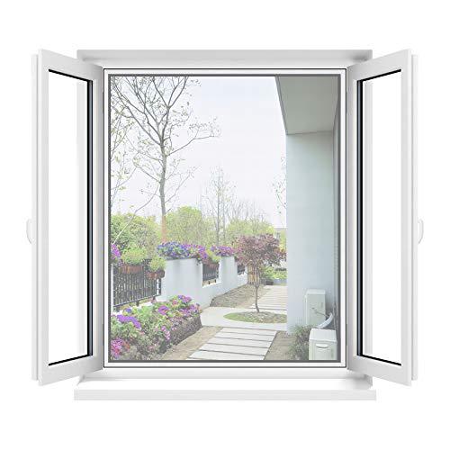Apalus Fliegengitter Fenster, Zuschneidbar auf alle Fenstergrößen bis 130x150cm, Insektenschutz mit Stark Haftendem Klettband, Kinderleichte Montage, Presshilfe und Zuschneider Inklusive, Weiß