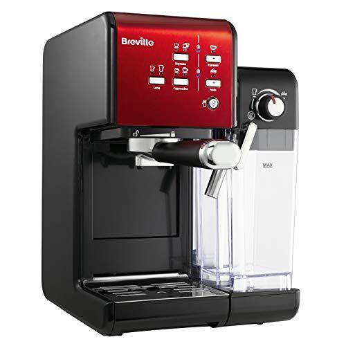 Breville Prima Latte II Espresso   Milchkaffee- und Cappuccinomaschine   Professionelle 19-Bar-Pumpe und Milchaufschäumer   Rot [VCF109X]