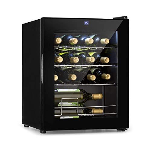 Klarstein Shiraz - Weinkühlschrank 5-18 °C, 42 dB, Soft-Touch-Bedienfeld, Weinschrank mit LED-Beleuchtung, wine fridge freistehend, 3 Regaleinschübe, 42 Liter, für 16 Flaschen Wein, schwarz