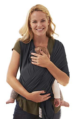BabyChamp Babytragetuch für Neugeborene aus 95% Natürlicher Bio Baumwolle in Schwarz | Elastische Kleinkindtrage (Ohne Binden)