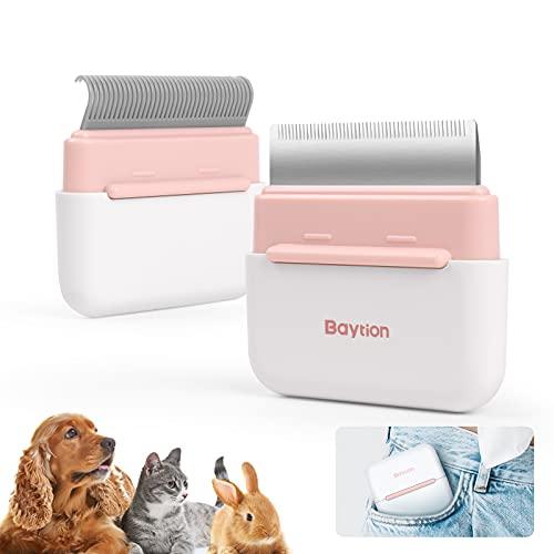 Katzenbürste Katzenkamm Tragbar, Baytion 2-in-1Haustierbürste Massage und Pflegewerkzeug für Langhaar Kurzhaar Haarum der abgestorbenen Haare effektiv zu beseitigen