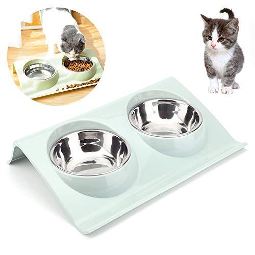 Doppelter Futternapf Katzen ,Futternäpfe Katzenfutter, Katzennäpf Edelstahl rutschfest,FutternapfKatze,Futterschüssel Katze,Hundenapf Schräg,katzenschüssel set für Katze Welpe Futter und Wass (Blau)