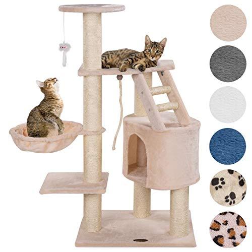 Happypet® Kratzbaum für Katzen mittelgroß CAT017 120 cm hoch, Kletterbaum Katzenbaum, extra Dicke und stabile Säulen mit Sisal ca. 9 cm, Liegemulde, Haus, Treppe, Spielmaus, BEIGE