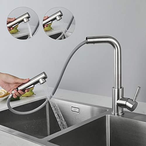 CECIPA Hochdruck Wasserhahn Küche Ausziehbar, Küchenarmatur mit Brause Zwei Wasserstrahlarten, Einhebel Spültischarmatur 360° Schwenkbar, Mischbatterie Küche Edelstahl Gebürstet, X203S