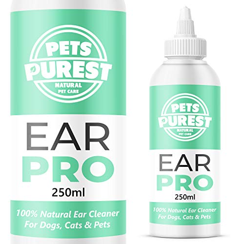 Pets Purest 100% Natürlich Ohrenreiniger für Hunde (250 ml) Eliminiert Jucken, Kopfschütteln & Gerüche in 3 Tagen. Schonende Ohr Reinigung bei Juckreiz, Entzündungen, Infektionen, Hefepilz, Ausfluss