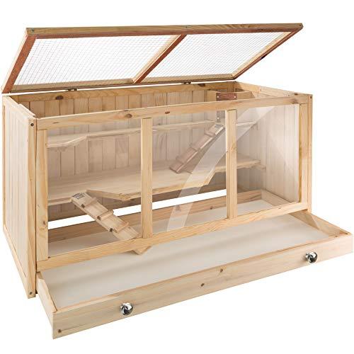 TecTake 403230 Nagerkäfig aus Holz mit Häuschen, große Bewegungsfreiheit durch mehrere Etagen, aufklappbares Dachgitter, Schaufenster aus Plexiglas, herausnehmbare Schublade