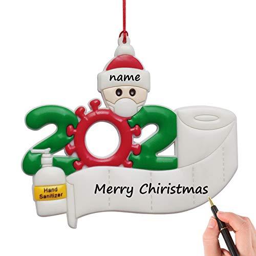 YIIFELL Weihnachtsschmuck,2020 Personalisierte Überlebende Familie Von 1,2, 3, 4, 5 Weihnachten 2020 Feiertags Dekorationen DIY Name,Christbaumschmuck Weihnachtsanhänger,Familie von einem