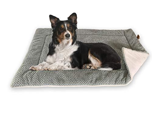 FLUFFINO® Hundedecke - Flauschig, Weich u. Waschbar (Größe M, 88 x 55 cm, grau)- Wildlederimitat für erhöhte Rutschfestigkeit - Für große u. kleine Hunde