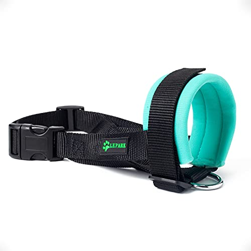 ILEPARK Maulkorb aus Stoff für Kleine,Mittlere und Große Hund,Verhindert Beisen, anpassbare Hals, Atmungsaktiv(S,Grün)