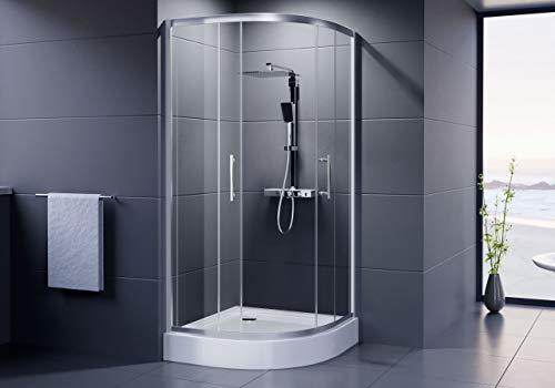 DUSAR Duschkabine Economy Runddusche 90x90 x 185 cm Höhe Viertelkreisdusche Radius 550 mm Halbkreisdusche Dusche rund mit ESG-Einscheibensicherheitsglas 90 bzw. 900 mm breit