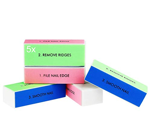 BLISSANY Nagelpolierblock, Nagelblock, Buffer – Profi Polierblock für die Nägel mit 4 Feil- und Polierflächen, Maniküre für gepflegte und schöne Fingernägel – im praktischen Set (5x)