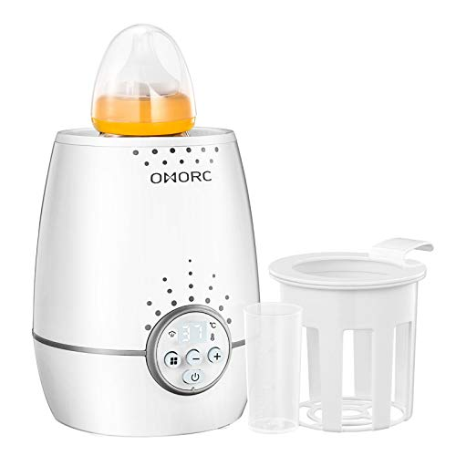 OMORC 3 in 1 Baby Flaschenwärmer für schnelles und gleichmäßiges Erwärmen von Milch & Babynahrung in nur 3 Minuten, Babykostwärmer mit LED Display,Weiß
