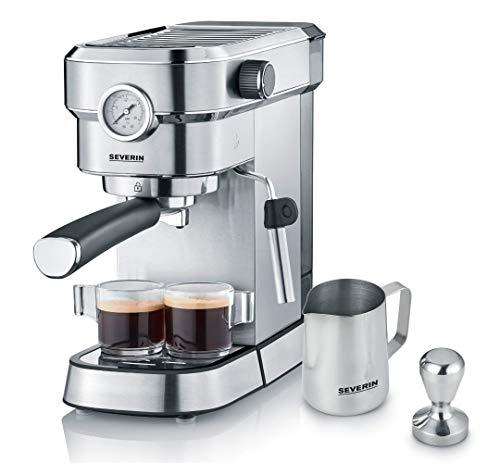 SEVERIN Espressomaschine 'Espresa Plus', Siebträgermaschine mit 3 Einsätzen, Kaffeemaschine mit Milchschäumer und Manometer, inkl. Barista-Starterset, Edelstahl-gebürstet/schwarz, KA 5995