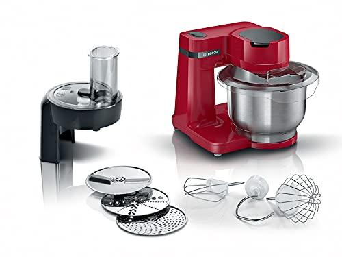 Bosch Hausgeräte MUMS2EB01 Küchenmaschine MUM Serie 2, 700 W, 3,8 L Edelstahlschüssel, Durchlaufschnitzler und 3 Scheiben, Patisserieset Edelstahl, schwarz