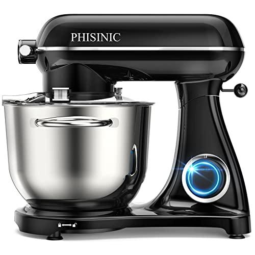 PHISINIC Küchenmaschine Knetmaschine (1800 W) leistungsstark, leise und multifunktional, Metallgehäuse inkl. 6,5 L Edelstahlschüssel, 3-Rührwerkzeuge, Spritzschutz, Teigschaber, Eiertrenner, Schwarz