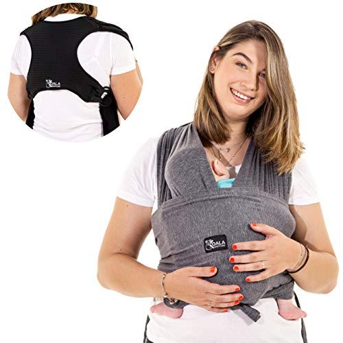 Koala Babycare® Baby Tragetuch-Leichtes Anziehen (Easy-On) - Unisex - Babytrage Neugeborene - Multi-Use - Bis 10kg - Babytragetuch Anthrazitgrau - Koala Cuddle Band - eingetragenes Design KBC®