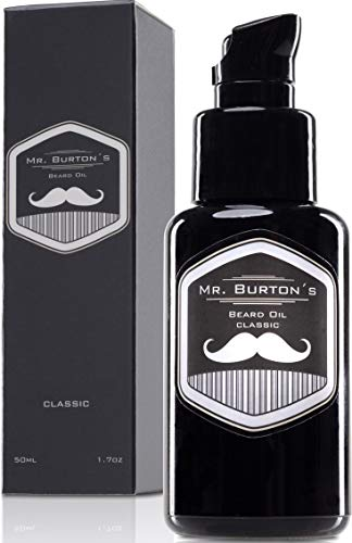 Bartöl - Mr. Burton´s Beard Oil - CLASSIC - unverwechselbarer Duft - PRODUKTSIEGER 2020 - Made in Germany-50ml Bart Öl für die Bartpflege - mit Arganöl Tierversuchsfrei und vegan