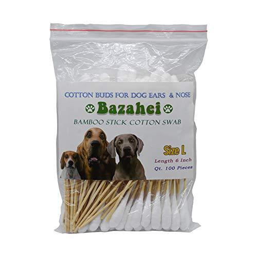 Bazahei Hundeohrenpflege, 15,2 cm, Wattestäbchen, Bambusstäbchen, professionelle große Wattestäbchen für Hunde, 100% Baumwolle (Größe L)