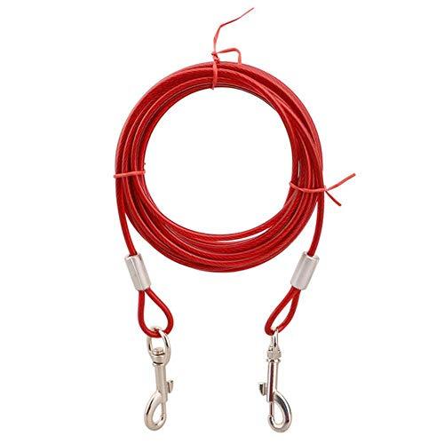 WanTo 3M / 5M / 10M Stahldraht-Haustierleinen für Zwei Hunde 3 Farben Anti-Biss-Kabel zum Herausbinden Outdoor-Bleigürtel Hundedoppelleine, rot, 10M