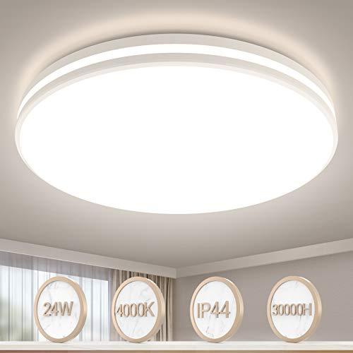 Deckenlampe LED Deckenleuchte Badezimmer Lampe LED Badleuchte 32cm Rund Deckenlampe Bad Öuesen IP44 Wasserfest Badlampe 24W 4000K Wohnzimmerlampe Schlafzimmerlampe Küchenlampe Flurlampe Badlampe Deck