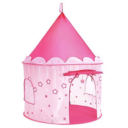 SONGMICS Spielzelt, Prinzessinnenschloss für Mädchen, Kleinkinder, Spielhaus für innen und außen, Pop-UP Indianerzelt Tipi mit Tragetasche, Geschenk für Kinder, pink LPT01PK