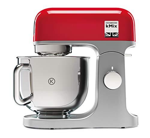 Kenwood KMX750RD Küchenmaschine | Hochwertiges Metallgehäuse | Hochglanzpolierte 5 Liter Edelstahl-Schüssel mit Handgriff |  Planetarisches Rührsystem | Unterhebfunktion | 1000 Watt | rot
