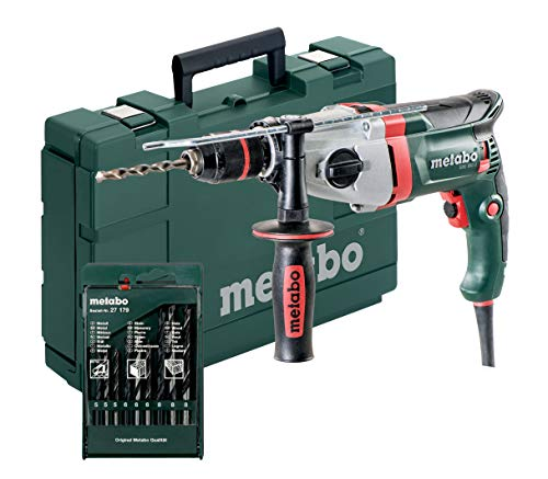 Metabo 600782900 Schlagbohrmaschine SBE 850-2 inkl. Bohrerset   Schnellspannfutter Futuro Plus, Handgriff, Anschlag, Koffer   V Elektronik/S Automatic/Rechts-Linkslauf (850 W / 36 Nm)