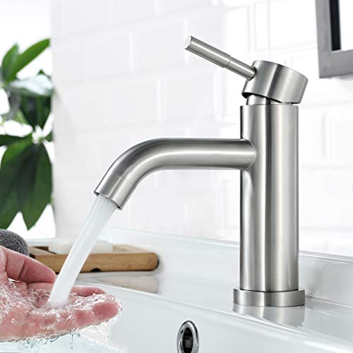 Faulkatze Waschtischarmatur Edelstahl Wasserhahn Bad Mischbatterie Einhebelmischer Waschbeckenarmatur Waschbecken Armatur Bad Wasserhahn, Matt