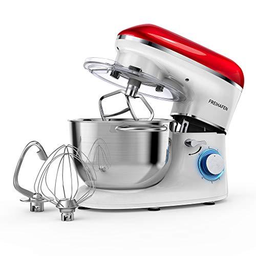 Küchenmaschine Knetmaschine FREIHAFEN 5.5L Reduzierte Geräusche Knetmaschine mit Rührbesen, Knethaken, Schlagbesen, Spritzschutz, 6 Geschwindigkeit mit Edelstahlschüssel Teigmaschin (Rot-weiß)