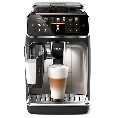 Philips 5400 Serie EP5447/90 Kaffeevollautomat, 12 Kaffeespezialitäten (LatteGo Milchsystem) Matt-Schwarz/Verchromte Arena