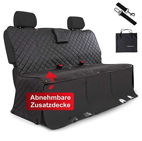 WhizProducts® Hundedecke für Auto Rückbank (mit Zusatz-Decke, Tasche & Sicherheitsgurt) – Wasserabweisende Autoschondecke & Rutschfester Sitzbezug mit Seitenschutz