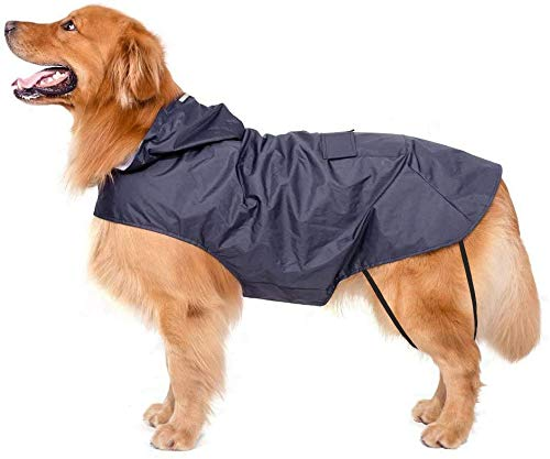 Bwiv Hunde Regenmantel Wasserdicht Hundemantel Groß Gefüttert Ultraleichte Atmungsaktive Hundejacke Reflexstreifen Regenjacke Hunde Mit Kapuze 3XL-6XL Blau 5XL