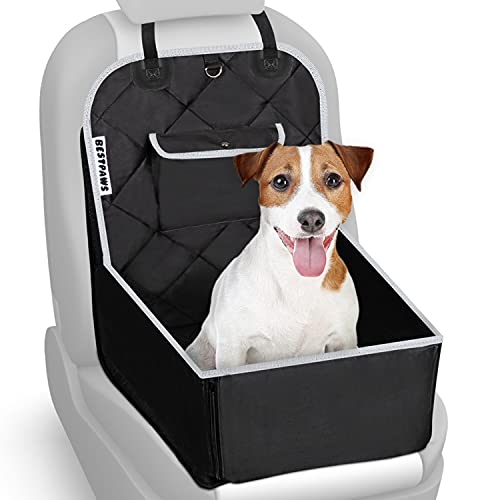 BESTPAWS Hunde Autositz für kleine & mittlere Hunde - Autositz Hund für Rückbank & Beifahrersitz - Hundebox faltbar - Leichte Anbringung - Tasche - Verstärkte Seitenwände - Leinenring - Sitzanker