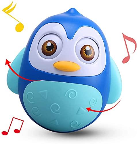 Alyoen Stehauffigur Pinguin, Stehaufmännchen Motorikspielzeug mit Wackel-und Klingeleffekt, Musik Wobbler Baby Spielzeug 6 bis 12 Monate, Roly Poly Tumbler Spielzeug für Jungen Mädchen (Blau)