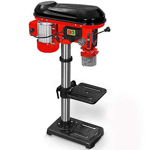 Hecht Profi Standbohrmaschine mit starken 600 Watt – 12-stufige Drehzahlregelung, schwenkbar- und höhenverstellbarer Bohr-tisch – Späneschutz - Praktische Säulenbohrmaschine, Tischbohrmaschine