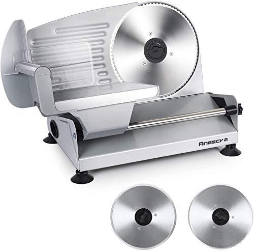 Brotschneidemaschine Elektrisch 200W, 2 rostfreies Edelstahlmesser, Leicht zu reinigen, Elektrische Allesschneider mit 0-15 mm einstellbarer Dicke, Anescra